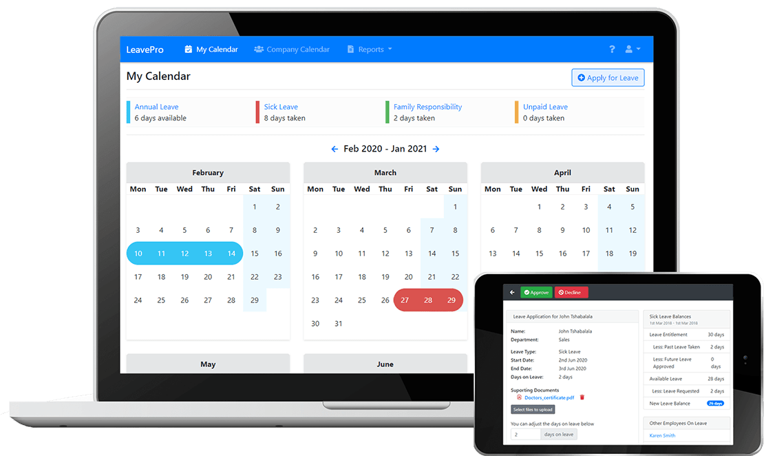 LeavePro screenshot showing employee leave calendar and leave approval screen