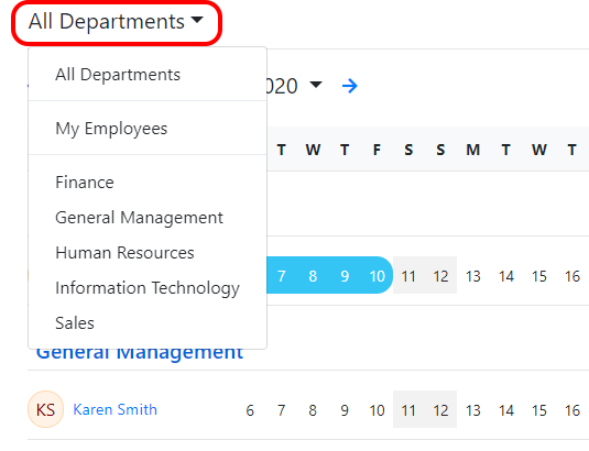 Select a department